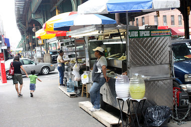 Sen. Jose Peralta hopes to make fixes to regulations of the city's food carts, like this Ecuadorian cart on Roosevelt Avenue.