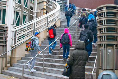 Students entering Stuyvesant High School in Lower Manhattan.