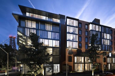 The Oosten at 421 Kent Ave. features 216 units, including townhouses, as well as outdoor space.