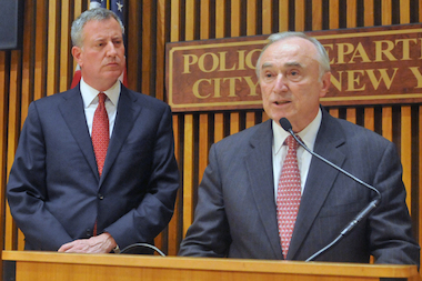 Mayor Bill de Blasio says he's confident Police Commissioner Bill Bratton and the NYPD can bring down a spike in shootings and homicides.
