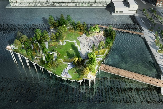 Renderings of Pier55 depict an amphitheater and hill-covered parkland.