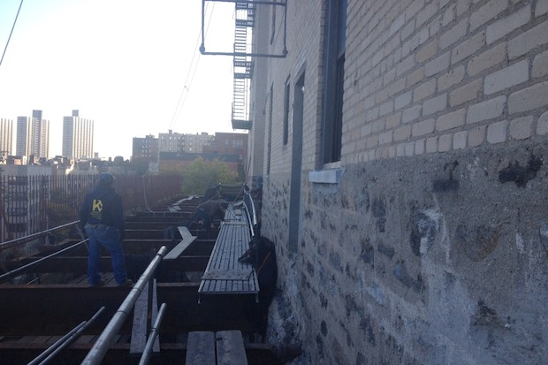Construction at 590 Fort Washington Ave created a dangerous situation with the building's fire escapes.