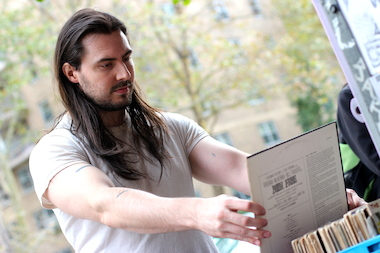 Andrew W.K. looks through records at A1 Records in the East Village.