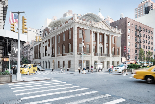Architects for a renovation project detailed plans to put a glass dome on top of 44 Union Square East.