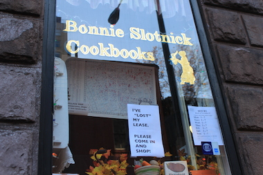 The store has a sign in the window saying Bonnie Slotnick lost her lease.