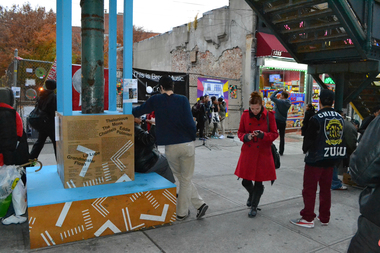 "The initial ""Boogie Down Booth"" at the Freeman Street subway stop was taken down on Tuesday."
