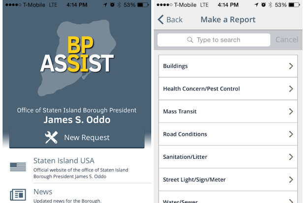 Borough President James Oddo launched an app for smartphone, called BP Assist, that lets residents reports quality of life complaints, get notified about street closures, and keep up on news from Borough Hall.