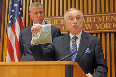 Mayor Bill de Blasio and Police Commissioner Bill Bratton announced that most people caught with 25 grams or fewer of marijuana will be issued a summons rather than be arrested during a press conference at One Police Blaza Monday afternoon, Nov. 10, 2014.