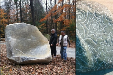 "Michael Cetera, left, and artist Kenichi Hiratsuka inspect the boulder they hope to turn into a community art project celebrating the history of Clove Road in Crown Heights. At right, Hiratsuka's model of the ""story stone"" he hopes to create shows the pictogram-like design for the boulder."
