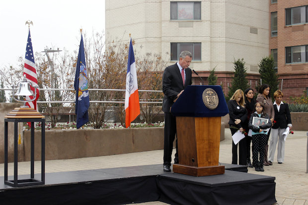 The mayor arrived ten minutes after the bell rang to remember the moment Flight 587 crashed on Nov. 12, 2001