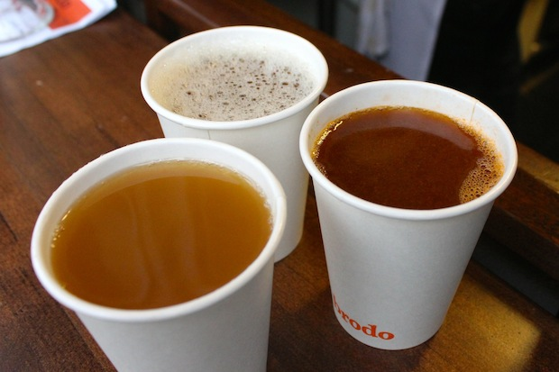 Brodo, which recently opened on First Avenue near East 12th Street, serves coffee cups filled with nutrient-rich bone broth.