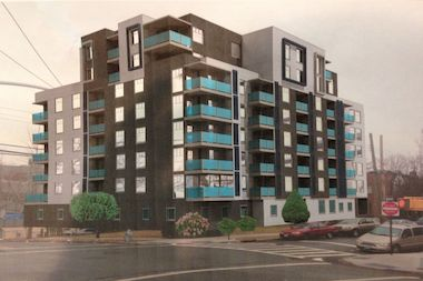 A rendering of a building planned for 177-30 Wexford Terrace in Jamaica Estates.