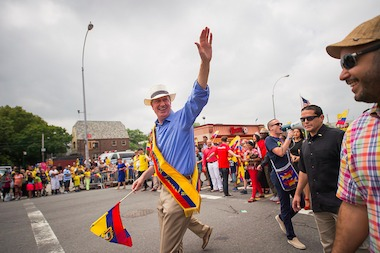 Mayor Bill de Blasio marches in the New York Ecuadorian Parade in Queens on Sunday, Aug. 3, 2014. A coalition of Latino groups has criticized the mayor for not appointing enough top Latino officials, allowing the highest ranking Latino member of the NYPD to be forced out and refusing face-to-face meetings.