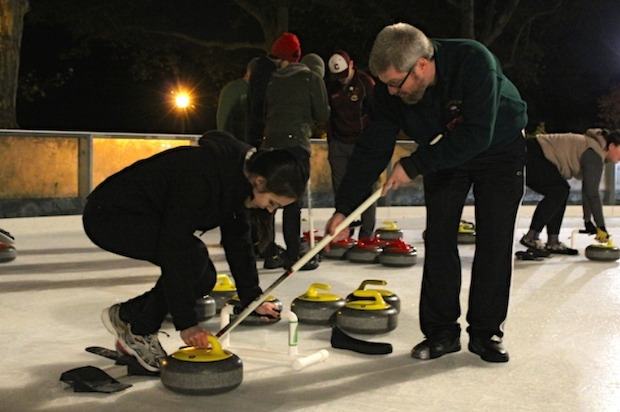 Learn to curl at South Street Seaport's ice rink every Wednesday through December.