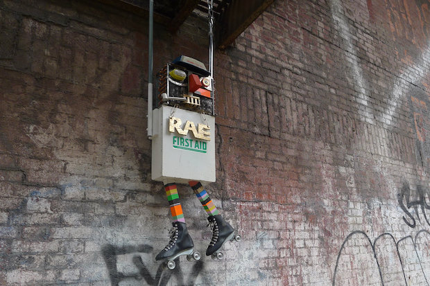 Artist RAE uses everyday found items for his urban robots and character installations on NYC streets.