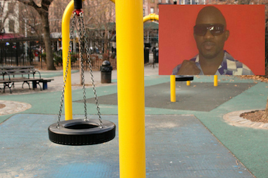 Aleim Perkins, 39, was struck by a tire swing in Tompkins Square Park. He was pronounced dead at Beth Israel Hospital.