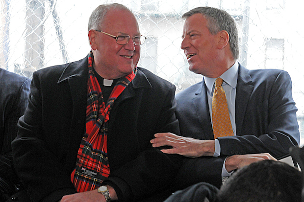 Officials including Mayor Bill de Blasio and Timothy Cardinal Dolan broke ground on an affordable senior housing development in the Highbridge section of The Bronx Thursday morning, Dec. 11, 2014.