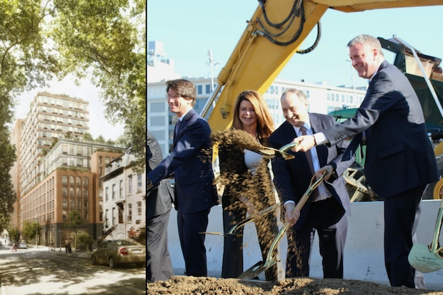 Greenland Forest City Partners broke ground on 535 Carlton Ave. on Monday, an all-affordable apartment building that is part of the Atlantic Yards/Pacific Park development.