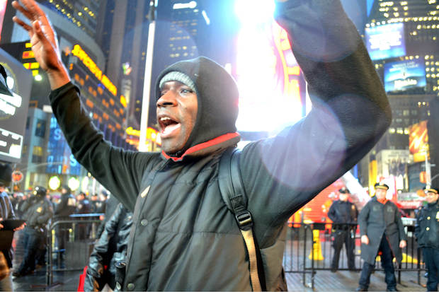 Protests continued on a smaller scale for a third night on Dec. 5, 2014, following a grand jury's decision not to indict an NYPD officer in the death of Eric Garner.