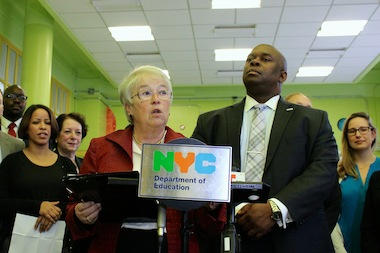The city's first 45 community schools have partnered with 25 community-based organizations, Schools Chancellor Carmen Farina said at a press conference at PS 15 - The Roberto Clemente School on Dec. 1, 2014.