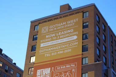 The Gotham West apartment buildings stretch between 10th and 11th avenues on West 45th Street.