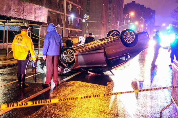 The driver died at Harlem Hospital, police said.