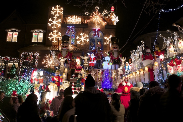 Many people traveled hours to see the holiday lights in Dyker Heights.
