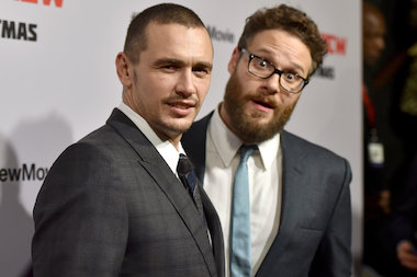 "James Franco, left, and Seth Rogen at the Los Angeles premiere of their forthcoming movie ""The Interview"" on Dec. 11."