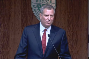 Mayor Bill de Blasio addresses the Police Athletic League in the wake of the killings of Officers Rafael Ramos and Wenjian Liu.