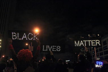 Black Lives Matter protesters march in New York City.