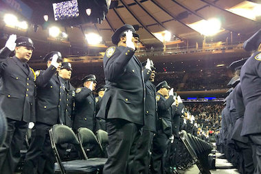 Mayor Bill de Blasio was met with boos and jeers when he spoke to graduating NYPD officers.