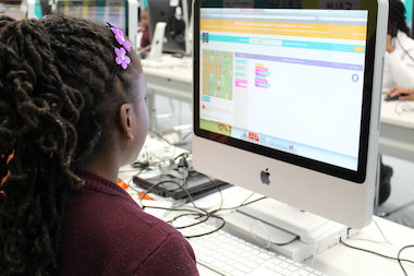 Fifth-graders at P.S. 21 in Brooklyn participated in an Hour of Code computer science lesson, hosted by new STEM nonprofit, Digital Girl Inc.