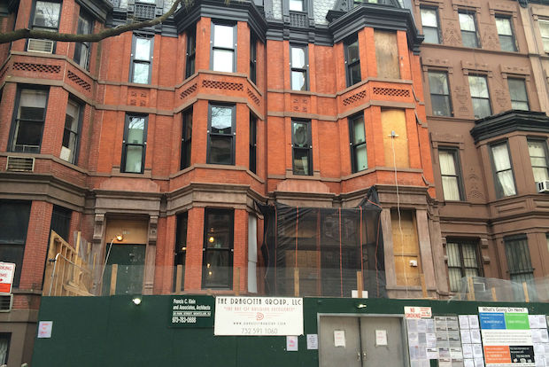 A man fell down a shaft inside the brownstone, which is being renovated.