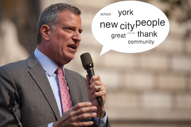 DNAinfo New York looked through hundreds of mayoral transcripts to find Bill de Blasio's most used words from 2014.