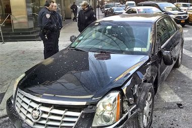 The cab sustained front-end damage in the accident at East 70th Street and York Avenue on Jan. 8, 2014.