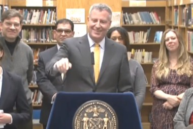 Mayor Bill de Blasio denied smoking pot on Jan. 7, 2015.