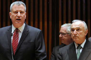 Mayor Bill de Blasio and Police Commissioner Bill Bratton announce a reduction in major crimes in 2014 compared with 2013 during a press conference at One Police Plaza Monday, Jan. 5, 2014.