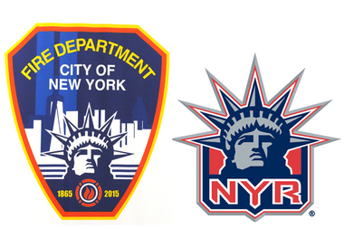 The Statue of Liberty in a new FDNY logo appears to be based on the one used in the New York Rangers alternate logo.