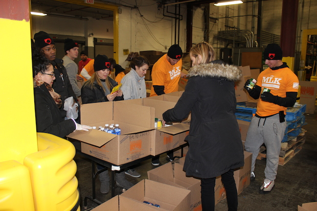 The Food Bank for New York City held a volunteer event on Monday for Martin Luther King Jr. Day.