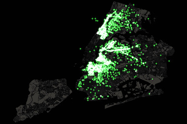 Green taxi pickups tend to be clustered in Northern Manhattan, the Queens waterfront and downtown Brooklyn, according to city data.