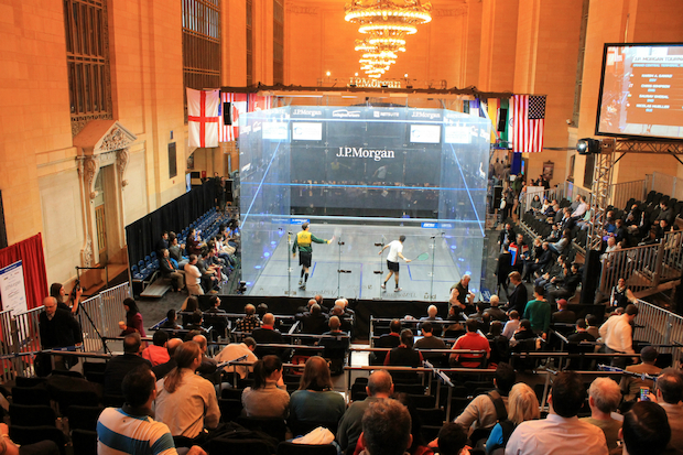 The squash court, which is installed Vanderbilt Hall, will host dozens of matches throughout the week. The matches started on January 16, 2015.