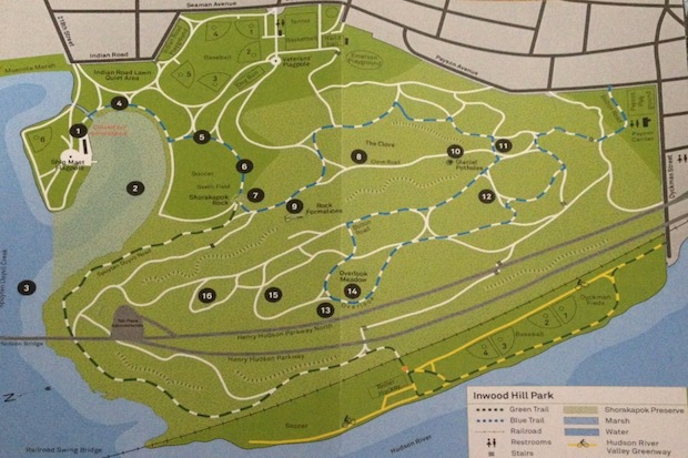 Inwood Hill Park Map Inwood Hill Park to Get GPS Locators and New Signs to Increase