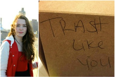 Juliette Borghesan, left, was shocked to discover a nasty note in her Umami Burger takeout box.