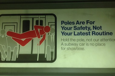 "A New MTA ad attacking ""showtime"" subway dancers was spotted on an uptown A train."