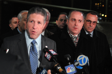 "Patrolmen's Benevolent Association President Pat Lynch said the mayor's office was ""unwilling"" to fix problems officers are facing after he and other union leaders met with Police Commissioner Bill Bratton at NYPD headquarters Wednesday evening, Jan. 7, 2015."