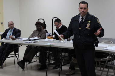 Steven Ortiz, seen here at a Bronx Community Board 3 meeting, is leaving the 42nd Precinct for a position at the Chief of Department's office.