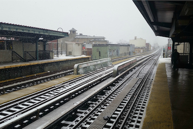 Snow falling on subway tracks as seen from the Gates Avenue J/Z platform on Jan. 26, 2015, as a snowstorm headed for New York City.