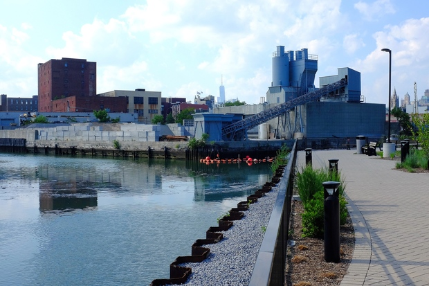 The canalside esplanade at the Whole Foods grocery story in Gowanus.