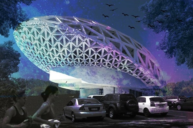 The Brooklyn Public Library is exhibiting designs for the Museum of Science Fiction, a project to be built in Washington D.C. by 2018, its backers say.