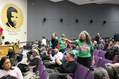 Alicia Boyd, leader of the activist group Movement to Protect the People, shouted down Community Board 9 at a meeting in February that addressed rezoning in the district, which covers southern Crown Heights and Prospect-Lefferts Gardens.